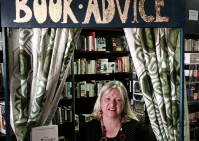 Giving book advice at Avid Reader