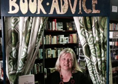 Giving book advice at Avid Reader
